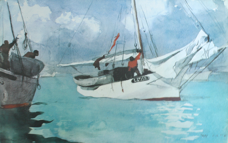 "Winslow Homer, ""Fishing Boats, Key West"", watercolor"