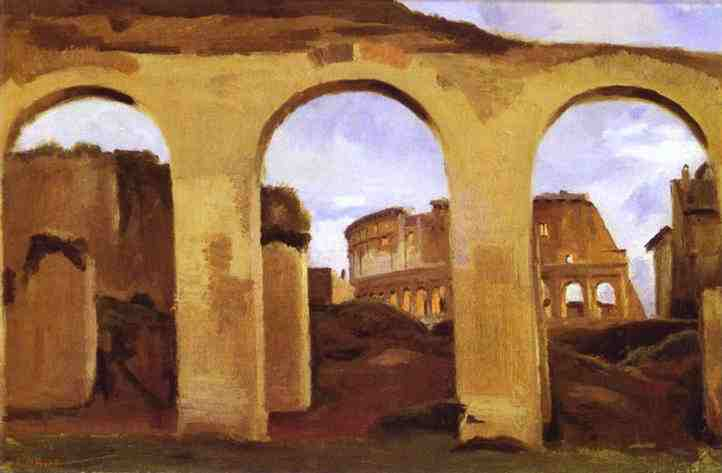 "Camille Corot, ""The Colosseum Seen through the Arcades of the Basilica of Constantine"""