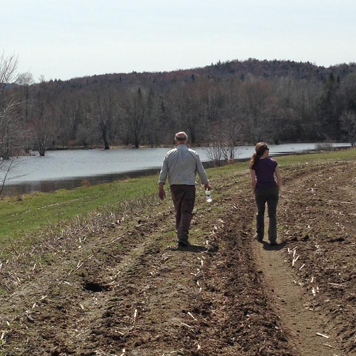 Sharon and Bruce walking towards wetlands