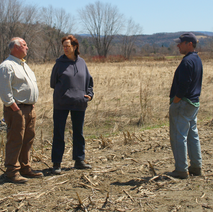 Talking to Bruce and a forest project manager about tree planting that's buffering the wetlands.