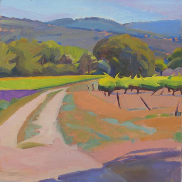 """Path through the Fields, les Bassacs"", oil on linen panel, 12"" x 12"""