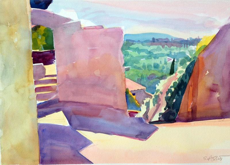 """""""Walls in Bonnieux, watercolor, 14"""" x 20"""""""
