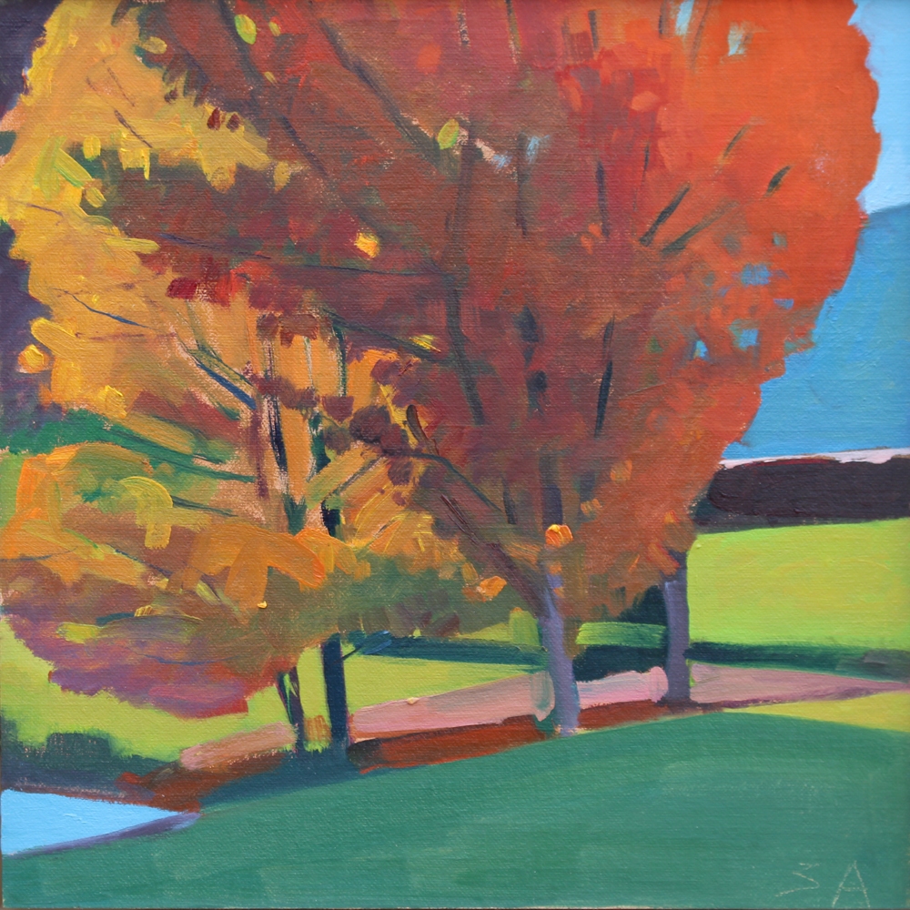 "Susan Abbott, ""Two Maples by a Pond"", 12"" x 12"", oil on panel"