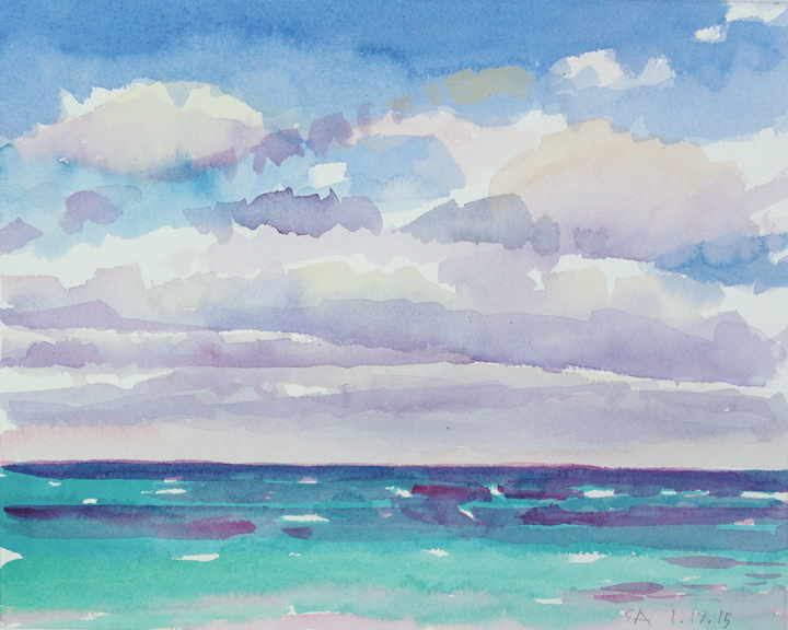 """Clouds over Ocean"", 8"" x 10"""