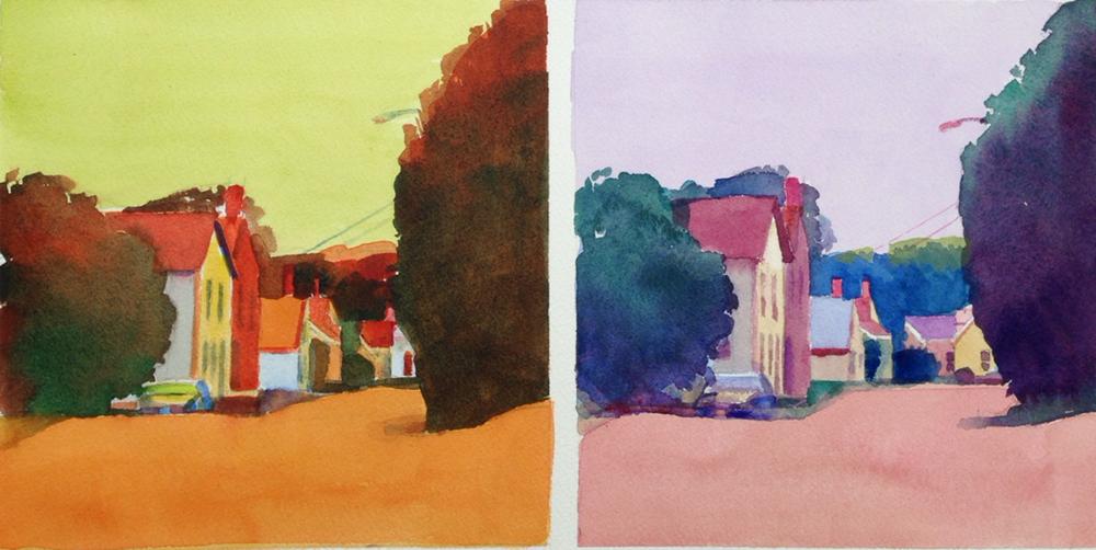 """7"""" x 14"""", watercolor"""
