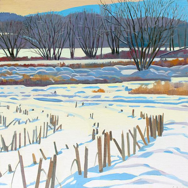 """Corn Field in Snow"", 20"" x 20"", oil on linen panel"