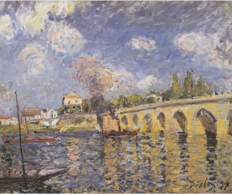 Boats on the Seine , Alfred Sisley