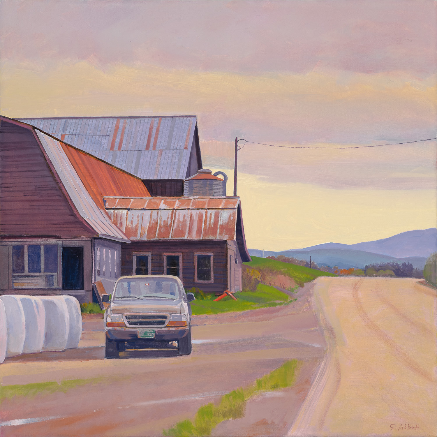 """Newton's Farm, Early Spring"", 28"" x 28"", oil on linen"