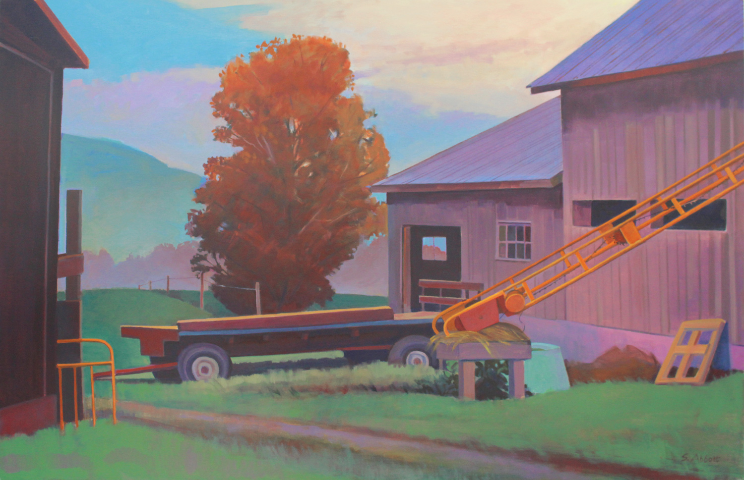 """Hill Farm, Dawn, 26"" x 40"", oil on linen"