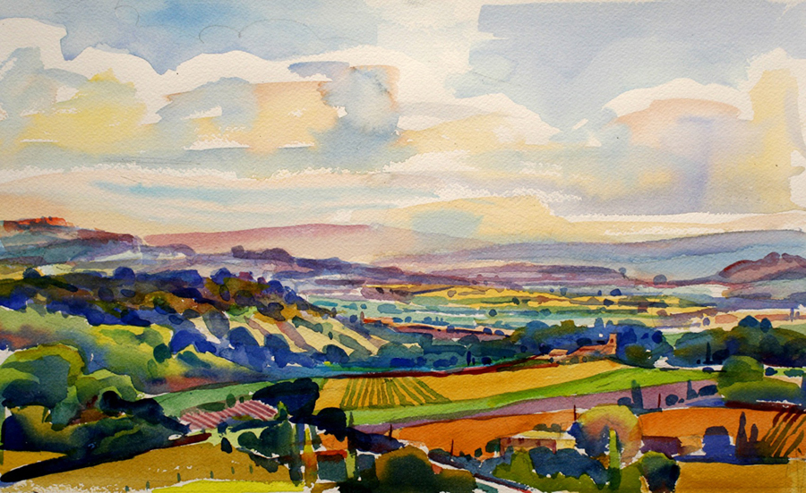 "Susan Abbott, ""Looking towards Roussillon"", watercolor"