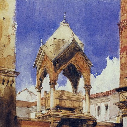 """Richard Parkes Bonington, Verona:The Castelbarco Tomb"" (detail), watercolor"
