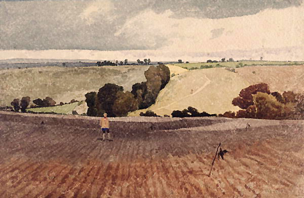"John Sell Cotman, ""A Ploughed Field"", watercolor"