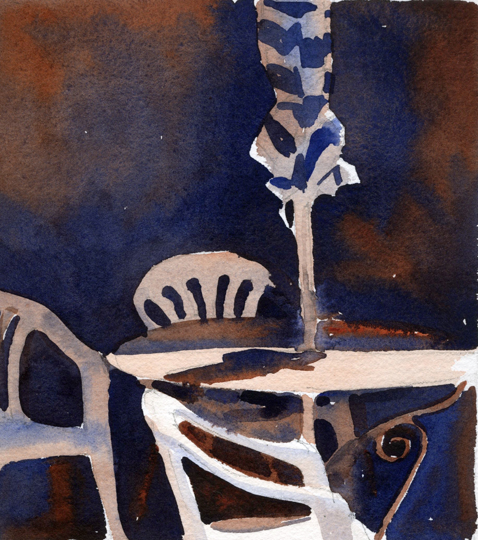 "Susan Abbott, ""Patio Furniture, Provence"", watercolor"