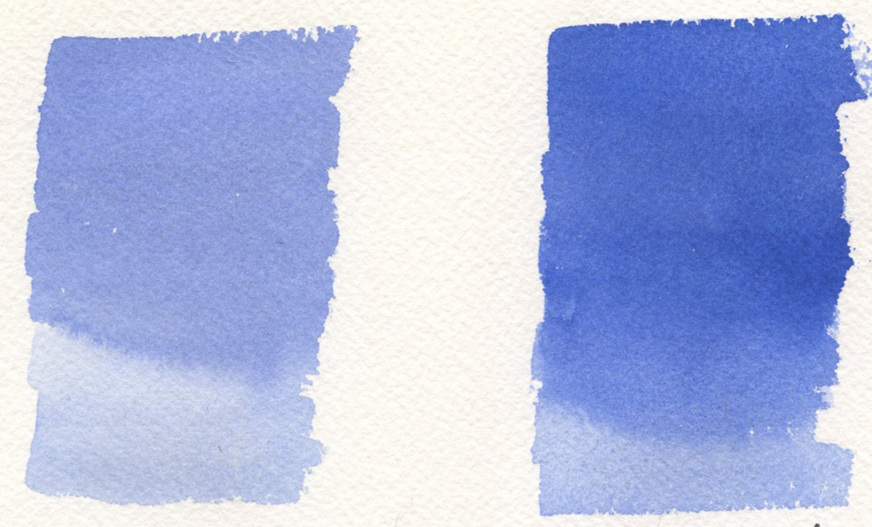 Schmincke Cobalt Blue Light watercolor (left) and Winsor Newton Ultramarine Blue watercolor (right)