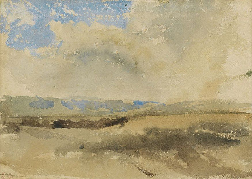 "Eugene Delacroix, ""Landscape Sketch"", watercolor"