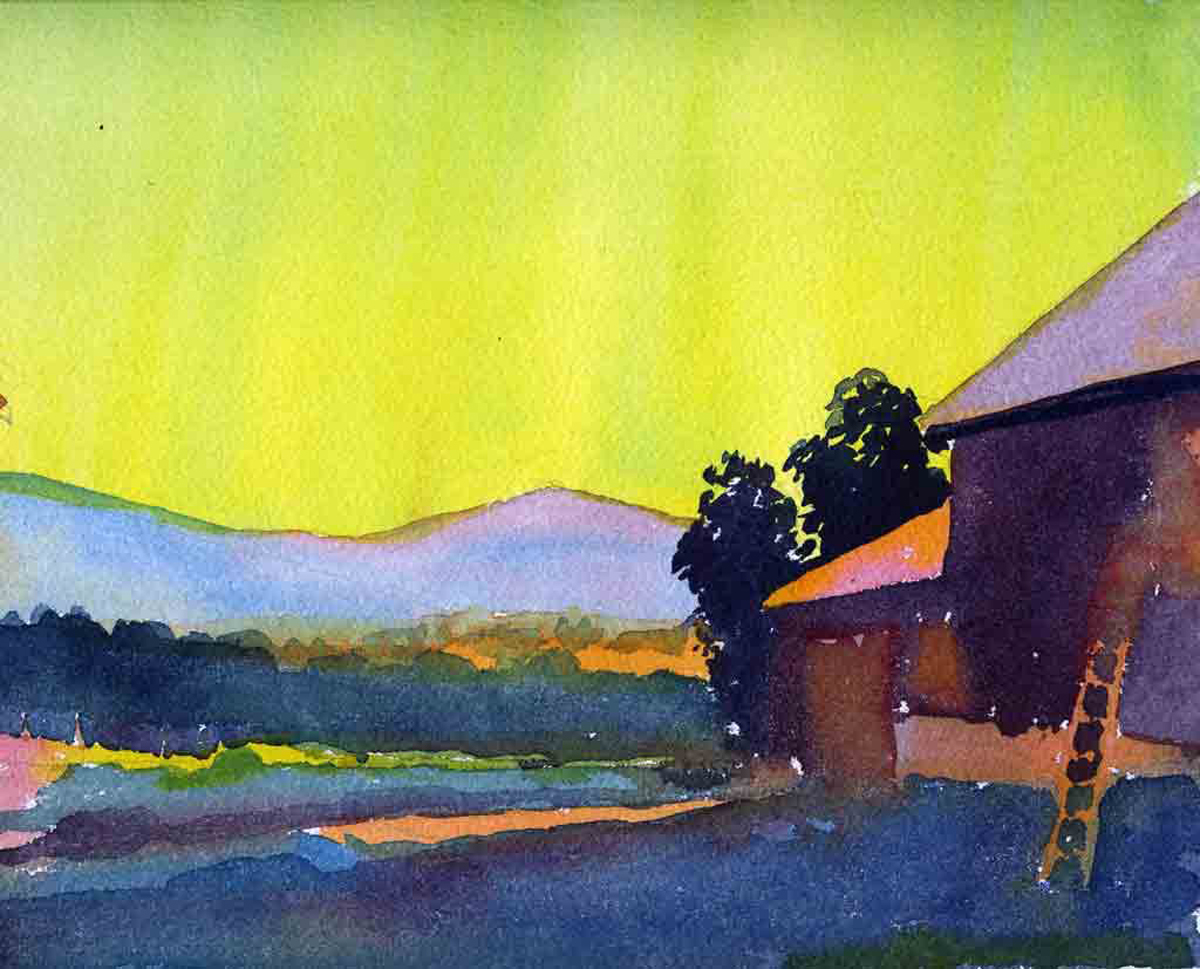 "Susan Abbott, ""Barnyard, Evening"", watercolor"