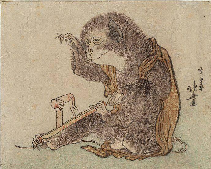 "Katsushika Hokusai, ""Monkey Playing with a Monkey Toy"", ink on paper"