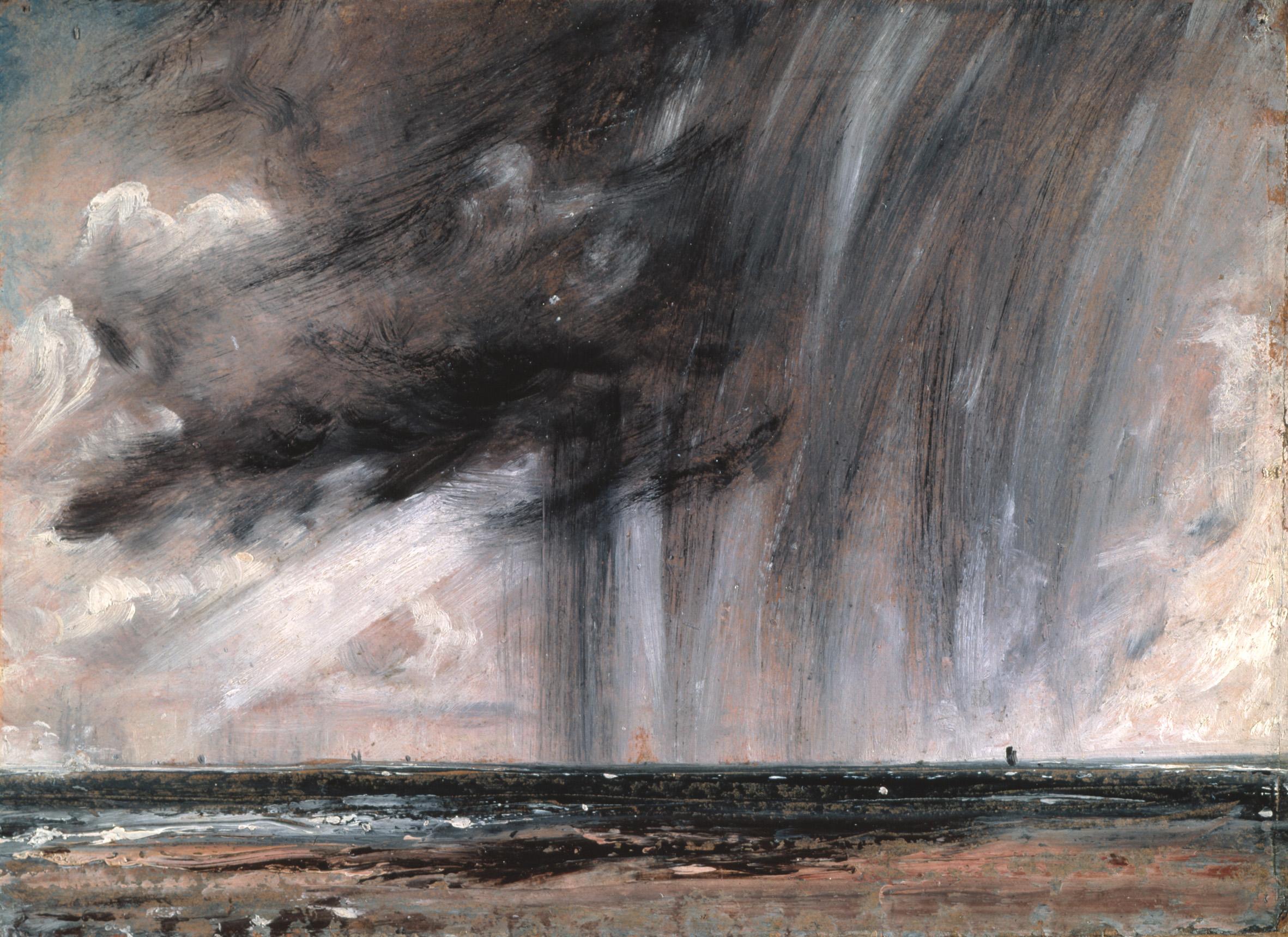 "John Constable, ""Seascape Study with Rain Cloud"", oil on paper"