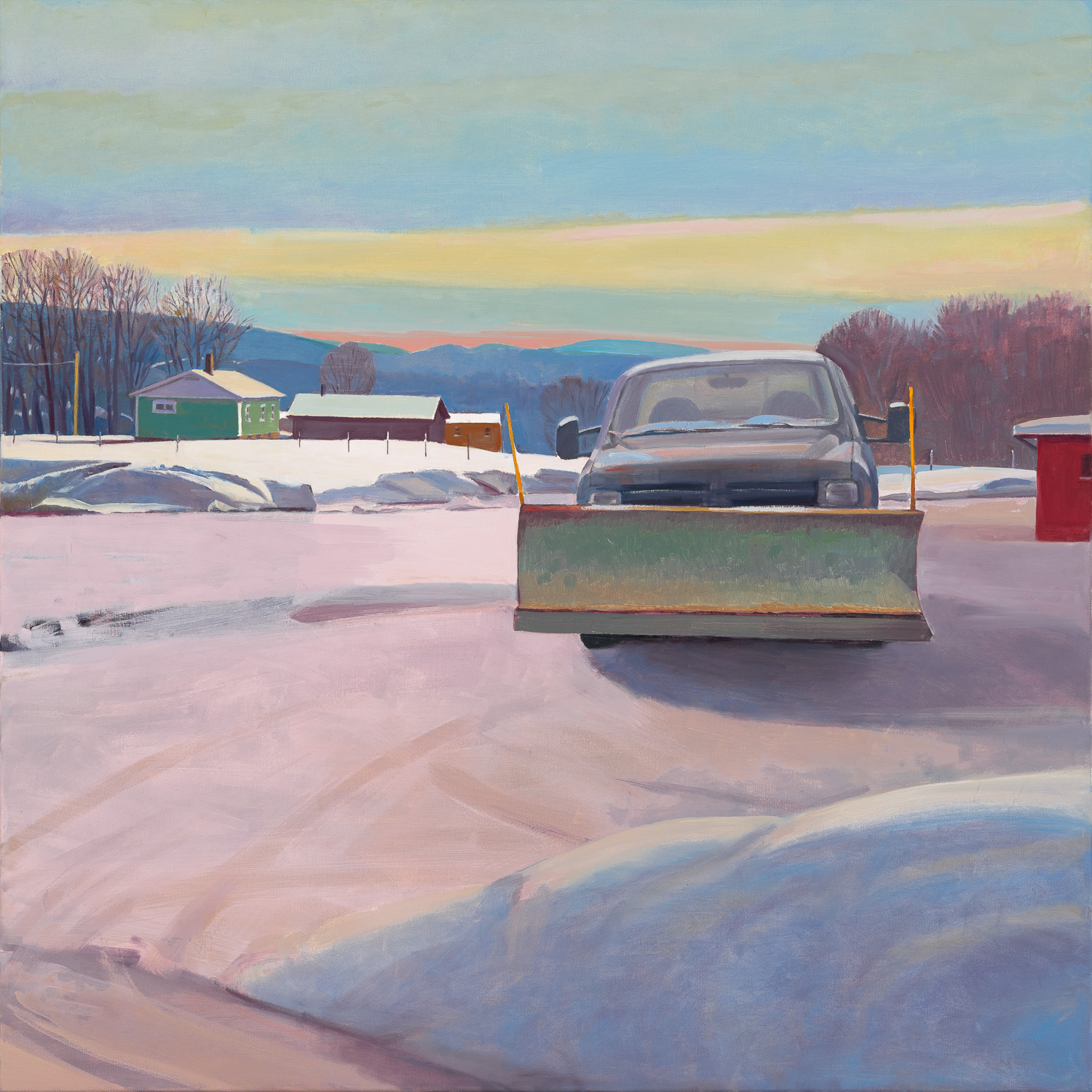 "Susan Abbott. ""Snowplow and Red Shed"", oil on linen"