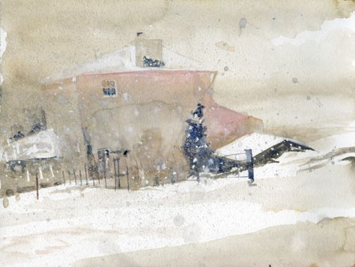 "Andrew Wyeth, ""The First Snow"", watercolor"