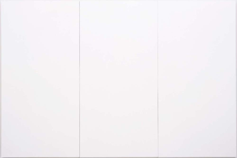 "Robert Rauschenberg, ""White Painting"", oil on canvas (three panels)"