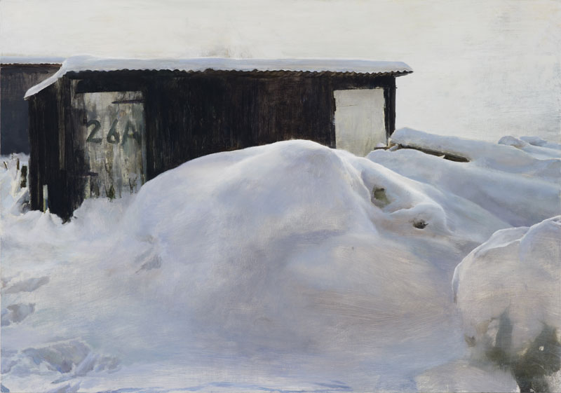 "Justin Mortimer, ""Snow Bank"", oil on canvas"