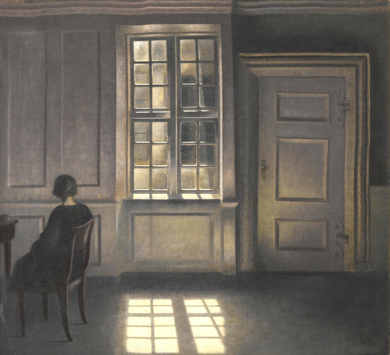 "Vilhelm Hammershoi, ""Interior"" oil on linen"