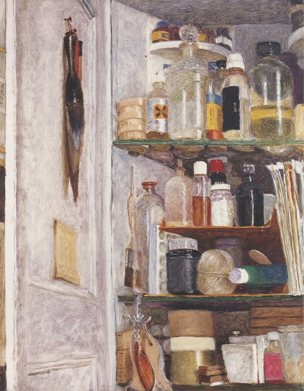 """Avigdor Arikha, """"Studio Cupboard"""", oil on linen"""