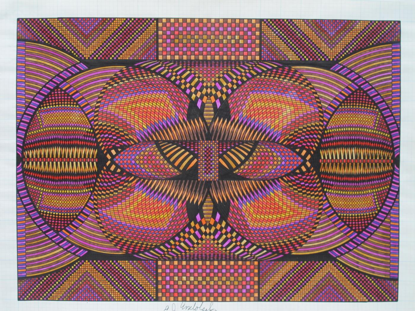 "Eugene Andolsek, ""Kaleidoscopic Drawing"", colored inks on graph paper"