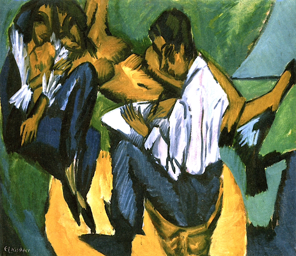 "Ernst Ludwig Kirchner, ""Artists and Models, oil on canvas"
