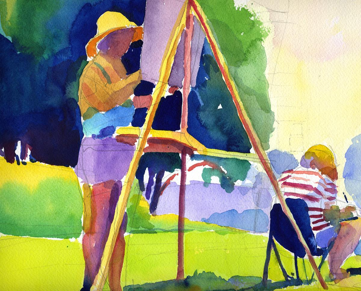 """Susan Abbott, """"Landscape Painters"""", watercolor"""