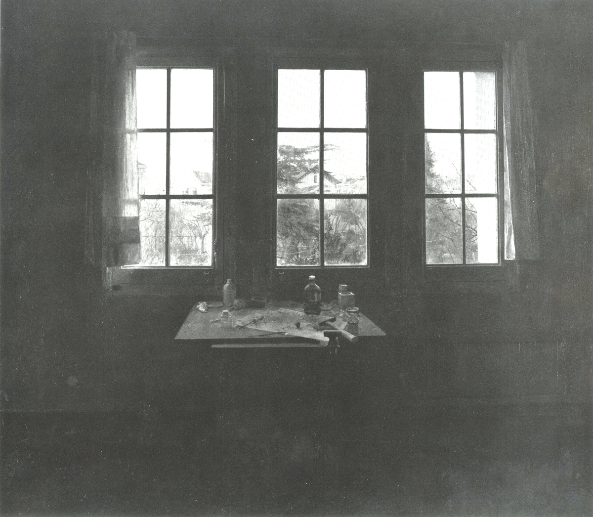 "Isabella Quintanilla, ""Studio in Late Afternoon"" (b & w), oil on canvas"