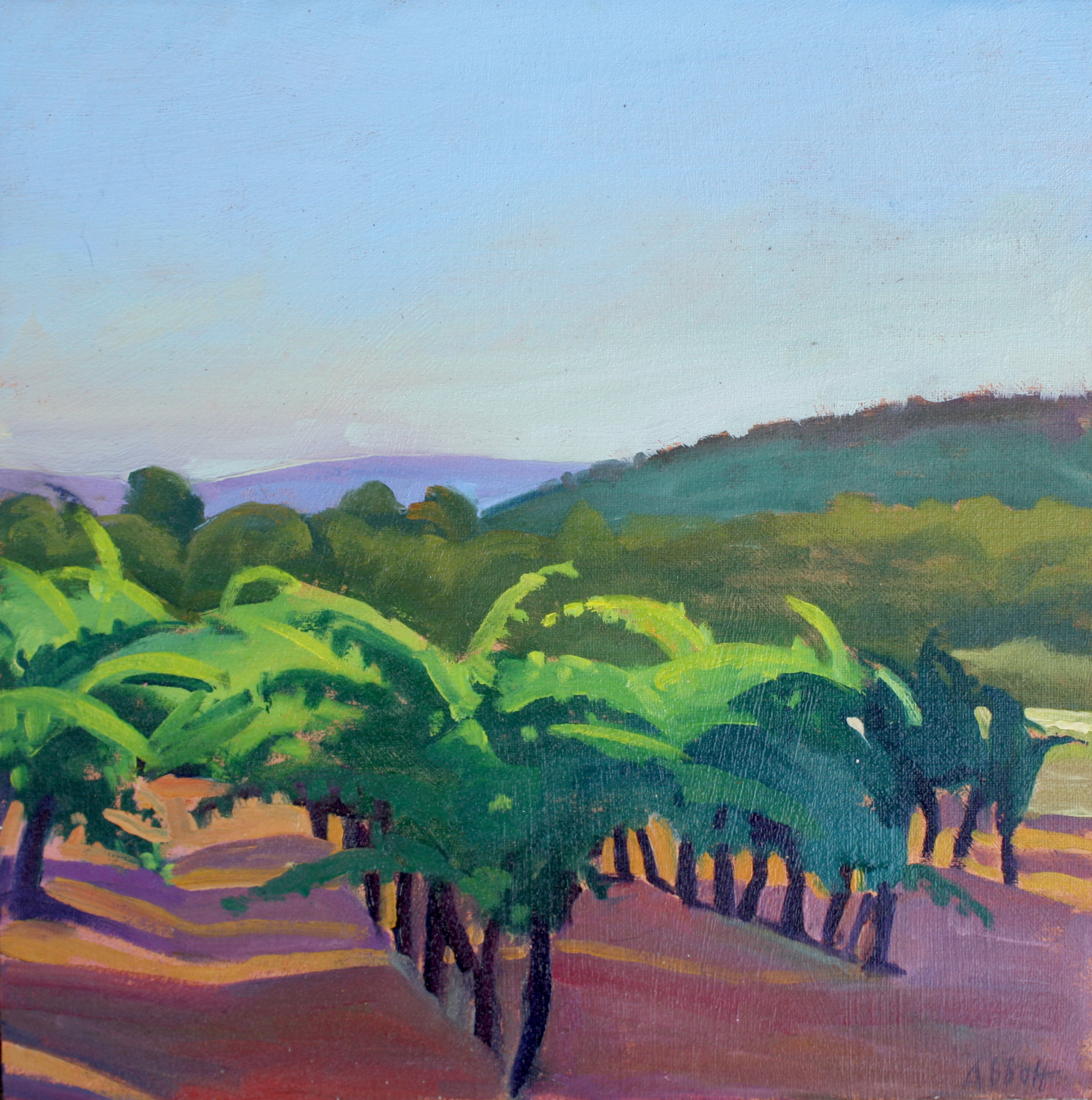 "Vineyard in Late Afternoon, Provence"", oil on linen panel, 10"" x 10"", framed in gold 13"" x 13"", $300.00. Purchase  here .  SOLD"