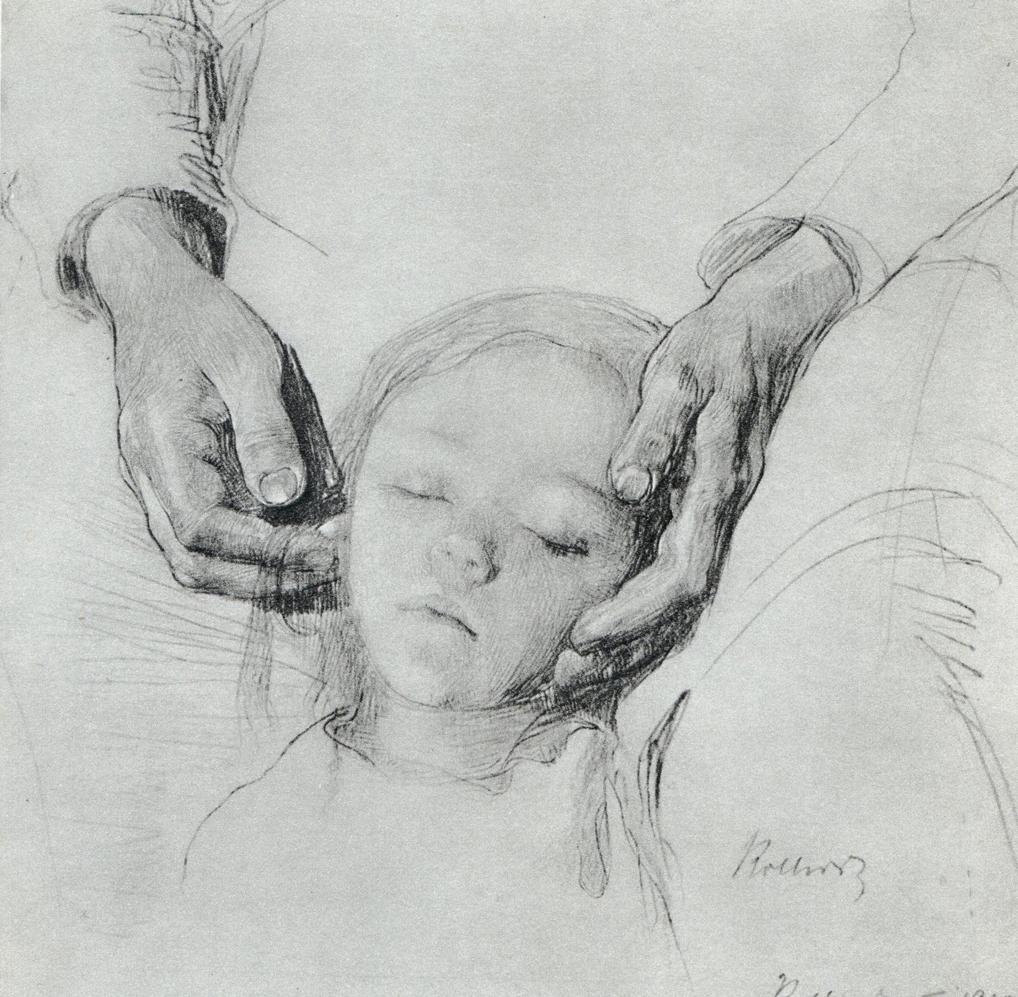 "Käthe Kollwitz, ""Zertretene"", graphite on paper"