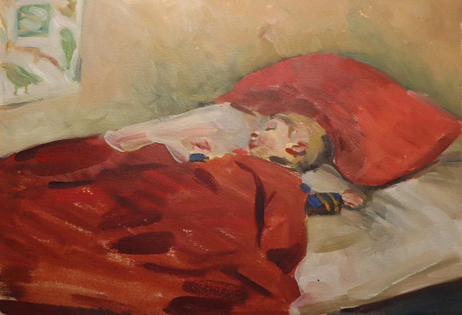 "Susan Abbott, ""Nate Sleeping"", oil on paper"
