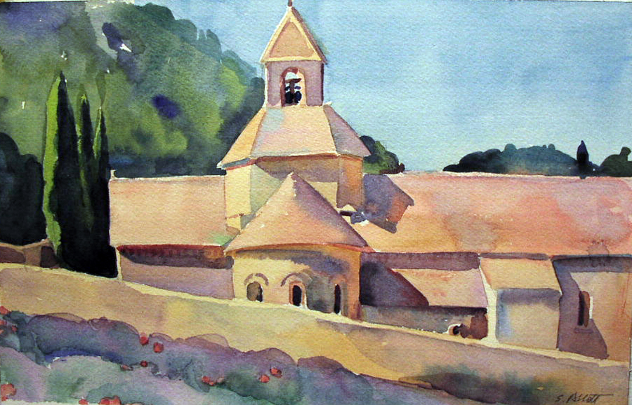 """Senaque Abbey"", watercolor, 8"" x 12"", framed in maple 17"" x 21"", $275.00.  SOLD"
