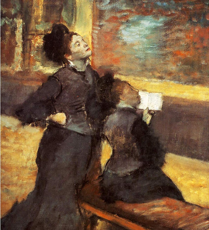 """Edgar Degas, """"Women Visiting a Museum"""" (detail) oil on linen"""
