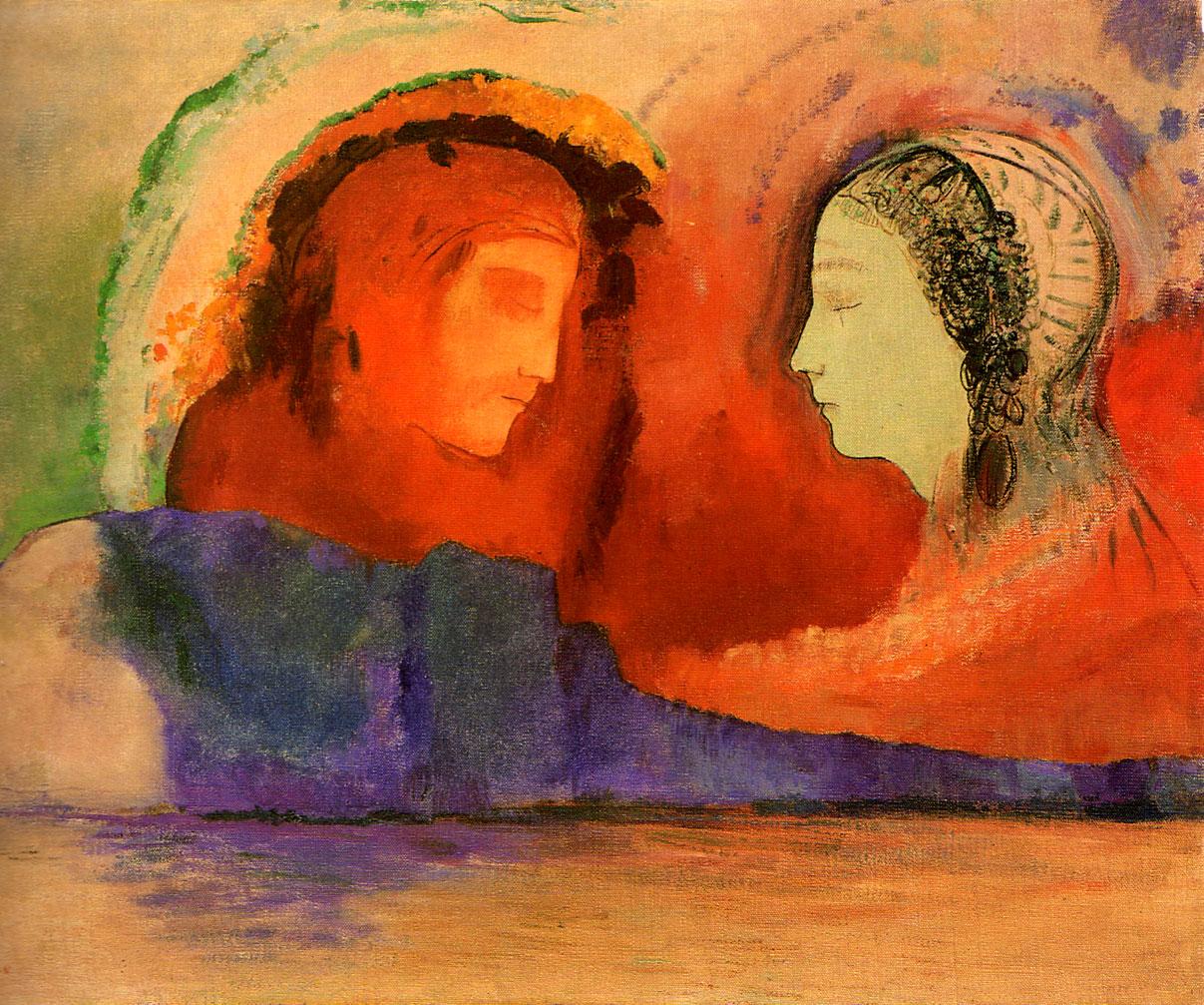 "Odilon Redon, ""Dante and Beatrice"", pastel"