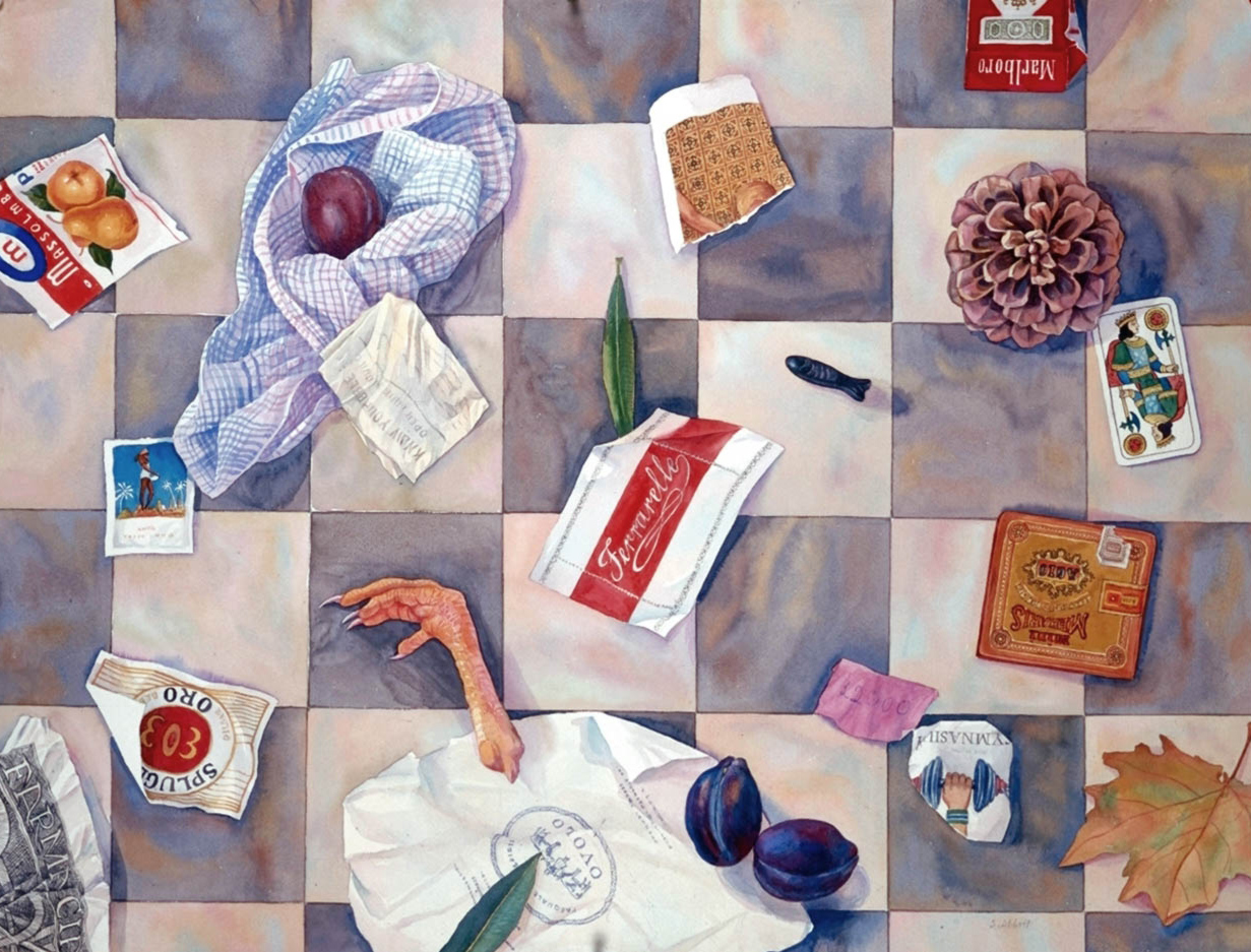 "Susan Abbott, ""Things We Picked Up From the Street in Rome"", watercolor"