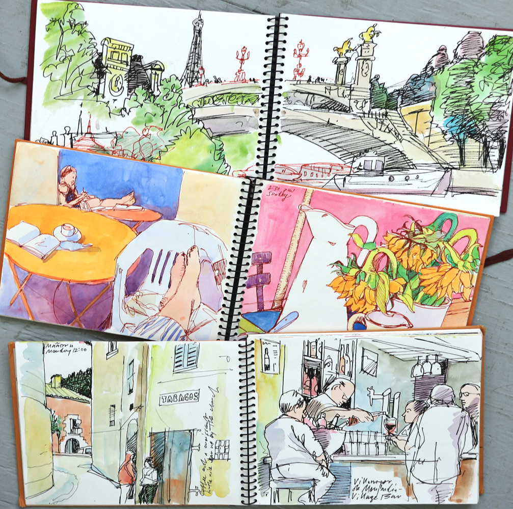 "Susan Abbott, ""Sketchbooks"", pen and watercolor"