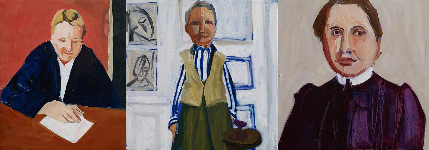 Chantal Joffe, Gertrude Stein (three portraits), oil on canvas