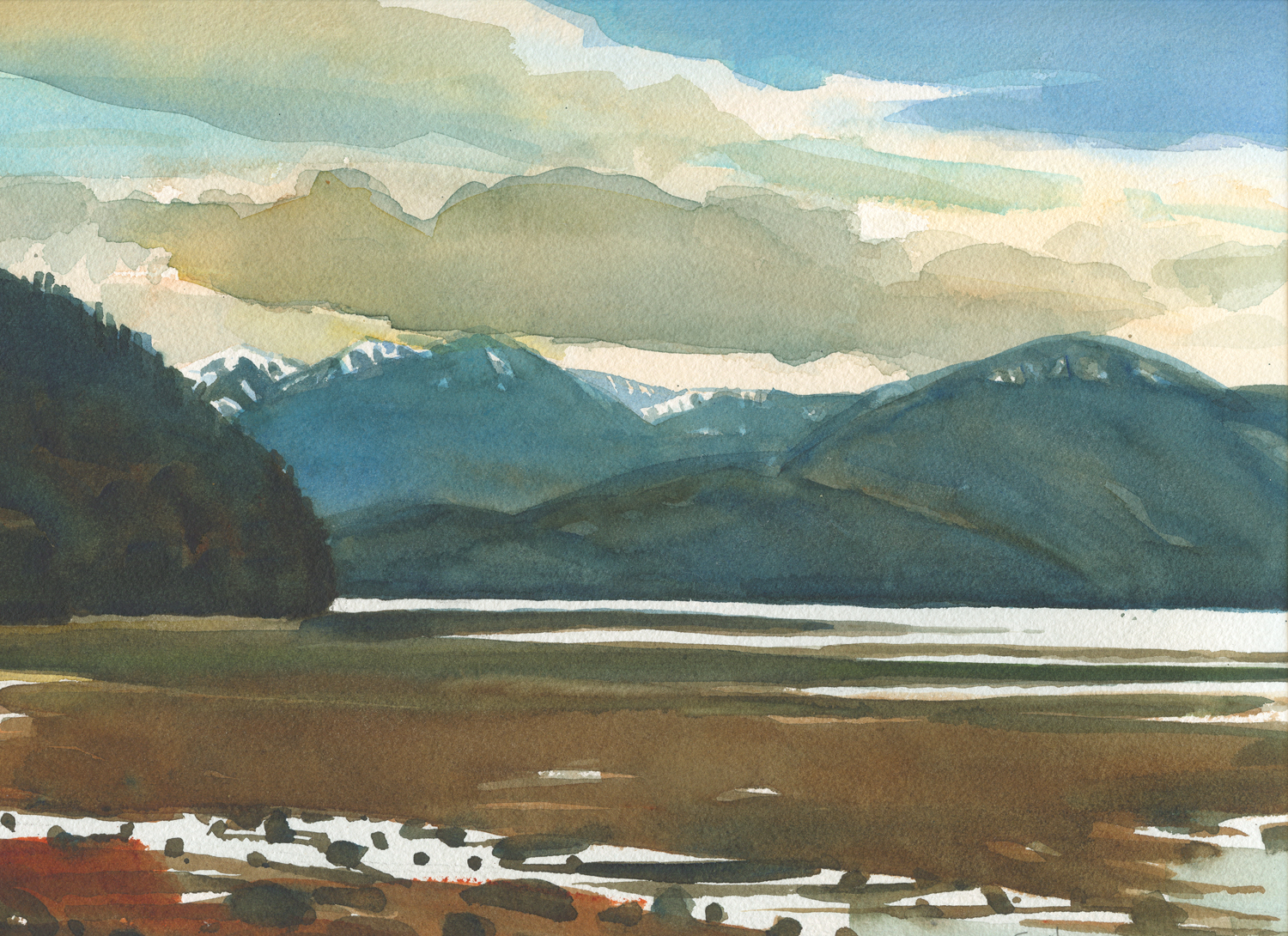 "Susan Abbott, ""Sitka, Cloudy Day"", watercolor"