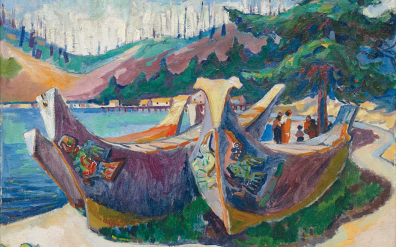 "Emily Carr, ""War Canoe"", oil"