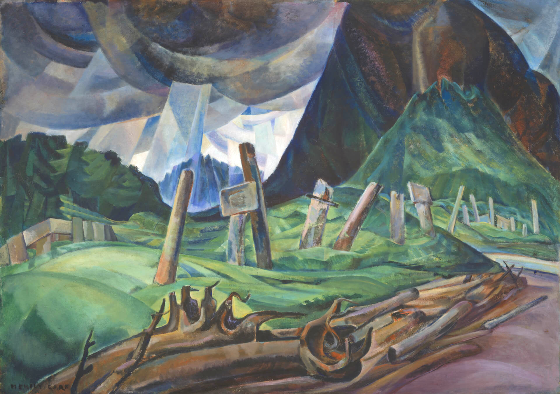 "Emily Carr, ""Vanquished"", oil"