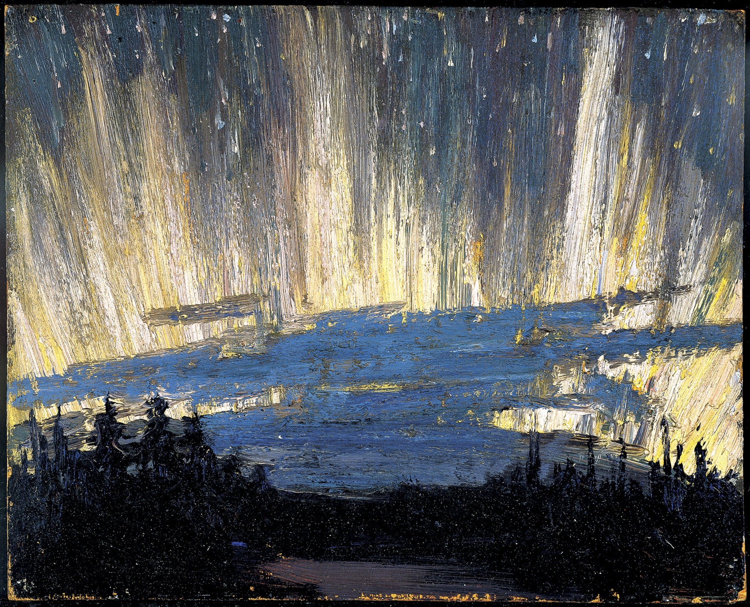 "Tom Thomson, ""Northern Lights, Spring"", oil on panel"