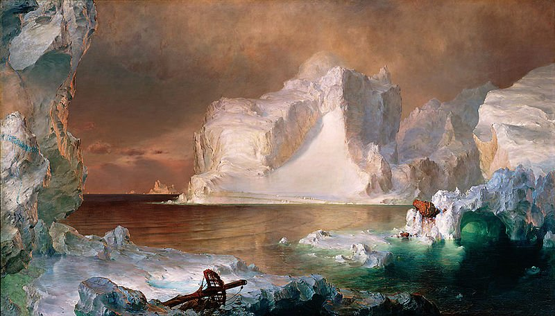 "Frederick Church, ""The Icebergs"", oil"