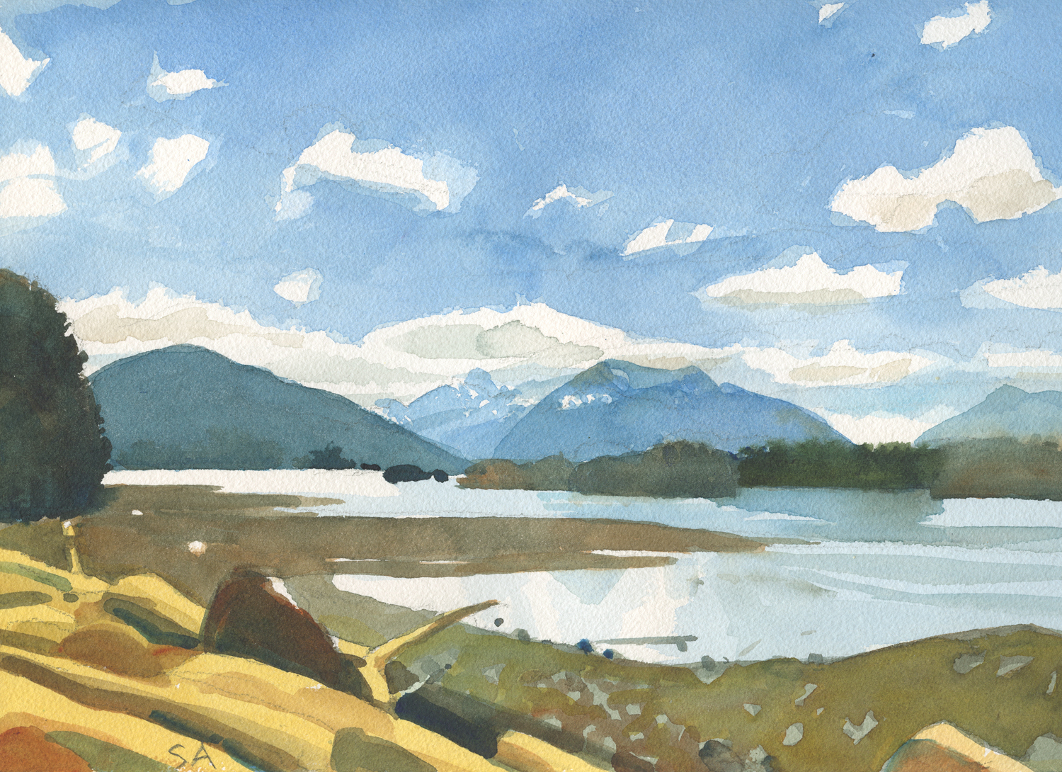 "Susan Abbott, ""Three Mountains, Sitka"", watercolor"