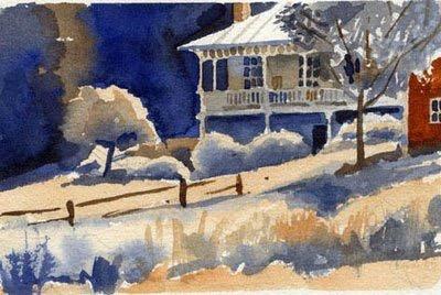 "Susan Abbott, ""Yard in Stowe"", watercolor"
