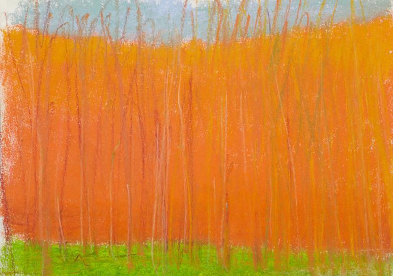 """Wolf Kahn, """"Orange"""", pastel"""