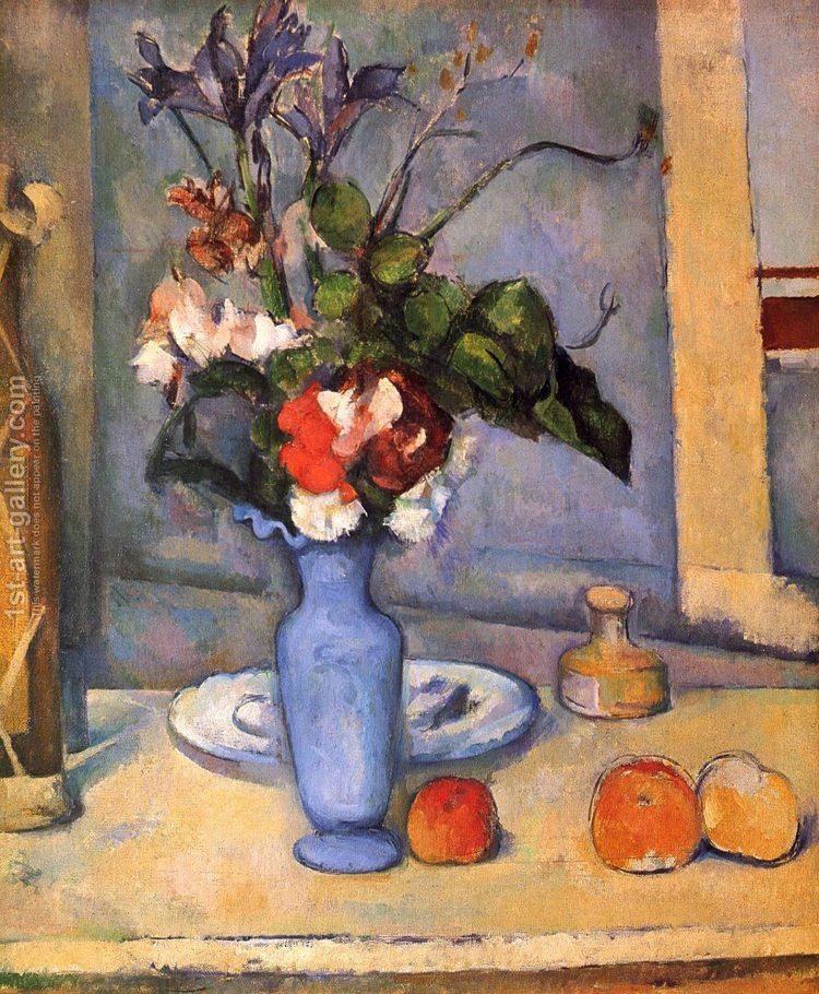 "Paul Cezanne, ""Flowers in a Blue Vase"", oil on canvas"